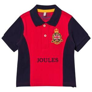 Tom Joule Boys Tops Red Red and Navy Crest Embroidered Polo