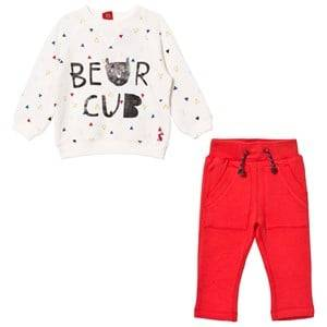 Tom Joule Boys Clothing sets Cream Cream Bear Cub Print Sweatshirt and Red Bottoms Set