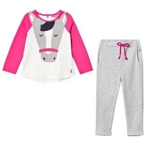 Tom Joule Girls Clothing sets Pink Pink and Cream Horse Applique Tee and Trousers Set