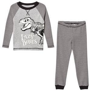 Tom Joule Boys Nightwear Grey Dark Grey Stripe Dinosaur Pyjamas