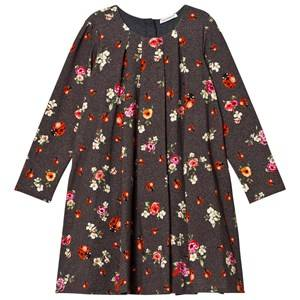 Dolce & Gabbana Girls Dresses Navy Grey Herringbone Floral and Lady Bird Print Interlock Dress