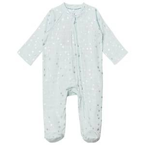 Aden + Anais Unisex All in ones Blue Pale Blue Silver Star Metallic Footed Baby Body