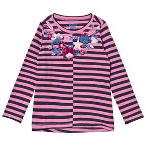 Hatley Girls Tops Pink Pink and Navy Floral Applique Stripe Long Sleeve Tee