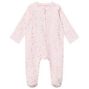 Aden + Anais Unisex All in ones Pink Pale Pink with Gold Star Long Sleeve Zipper Metallic Babygrow