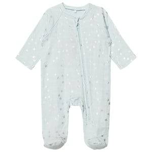 Aden + Anais Boys All in ones Blue Pale Blue with Silver Stars Long Sleeve Zipper Metallic Babygrow