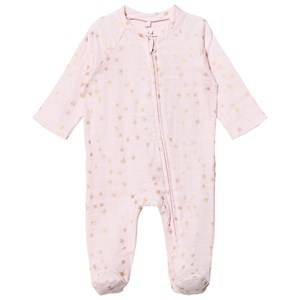 Aden + Anais Girls All in ones Pink Pale Pink Footed Baby Body Gold Star Metallic