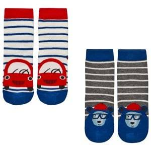 Tom Joule Boys Underwear Blue 2 Pack of Blue Car and Bear Socks