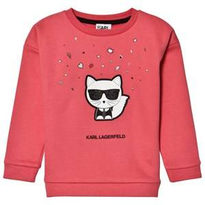 Karl Lagerfeld Kids Girls Jumpers and knitwear Pink Pink Choupette and Emoji Sweatshirt