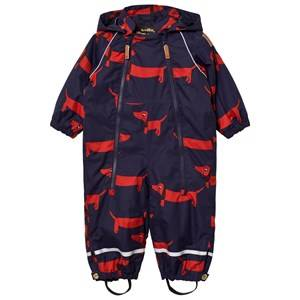 Mini Rodini Unisex Coveralls Blue Alaska Dog Baby Coverall Navy
