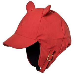 Mini Rodini Unisex Headwear Red Alaska Ear Cap Red