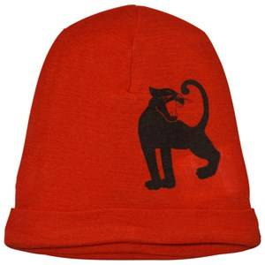 Mini Rodini Unisex Headwear Red Panther Wool Beanie Red