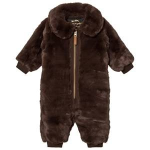 Mini Rodini Unisex Coveralls Brown Faux Fur Baby Overall Brown