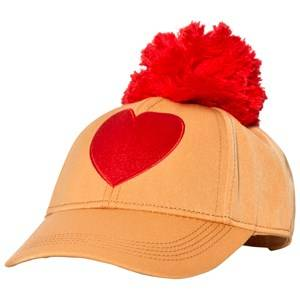 Mini Rodini Unisex Headwear Orange Heart Embroidery Cap Orange