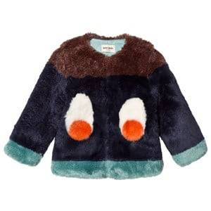 Bobo Choses Unisex Coats and jackets Blue Faux Fur Jacket Eyes