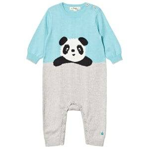 The Bonnie Mob Boys All in ones Blue Panda Intarsia One-Piece Pale Blue
