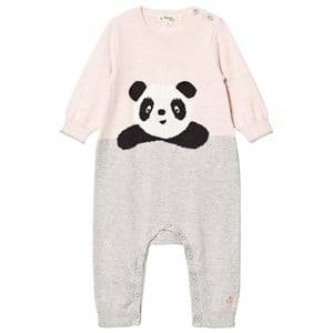 The Bonnie Mob Girls All in ones Pink Panda Intarsia Playsuit Pale Pinks