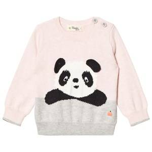 The Bonnie Mob Girls Jumpers and knitwear Pink Panda Intarsia Sweater Pale Pink