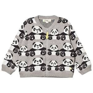 The Bonnie Mob Unisex Jumpers and knitwear Grey Panda Jaquard Zip Front Cardigan Greys