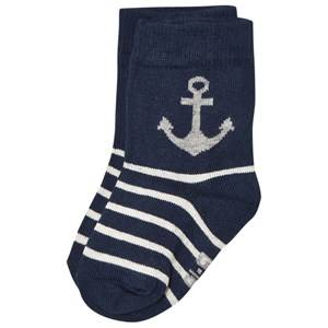 Melton Unisex Underwear Navy Anchor & Stripe Baby Socks Navy
