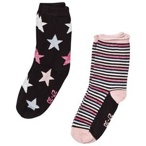 Melton Unisex Underwear Black 2 Pack Socks Star/Stripe Black