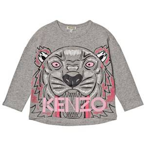 Kenzo Girls Tops Grey Grey Marl Large Tiger Print Tee