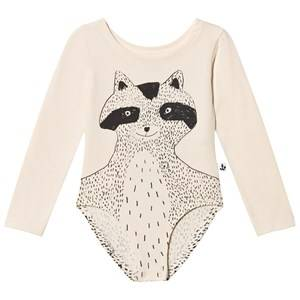 Noe & Zoe Berlin Unisex All in ones Beige Black Raccoon Printed Leotard