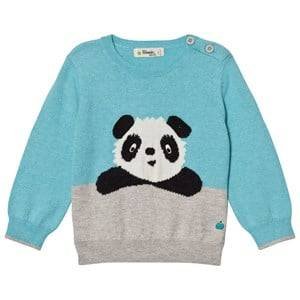 The Bonnie Mob Boys Jumpers and knitwear Blue Panda Intarsia Sweater Pale Blue