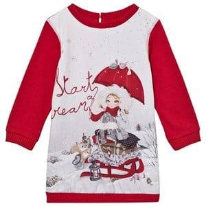 Mayoral Girls Dresses Red Red Snow Girl Print Sweat Dress