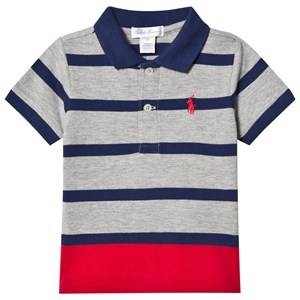 Ralph Lauren Boys Tops Grey Grey Stripe Polo Shirt