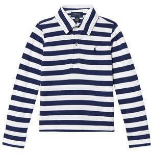 Ralph Lauren Boys Tops White White/Navy Long Sleeve Polo Shirt