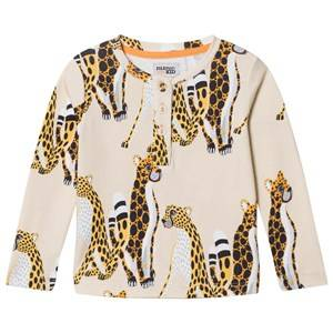 Filemon Kid Unisex Tops Beige Long Sleeve T-Shirt Cheetahs Angora