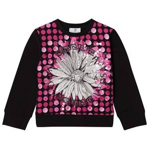 Young Versace Girls Jumpers and knitwear Pink Pink/Black Flower Medusa Sequin Sweatshirt