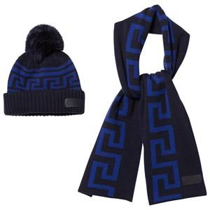 Young Versace Boys Clothing sets Navy Navy/Blue Branded Knit Hat and Scarf Set