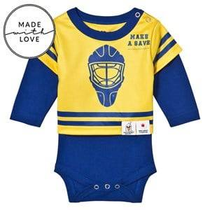 The BRAND Unisex All in ones Blue Make A Save Baby Body Blue/Yellow
