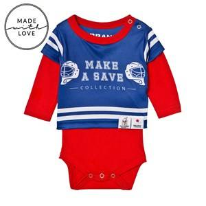 The BRAND Unisex All in ones Red Make A Save Baby Body Red/Blue