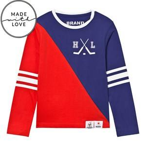 The BRAND Unisex Tops Red Make A Save Diagonal Tee Red/Blue