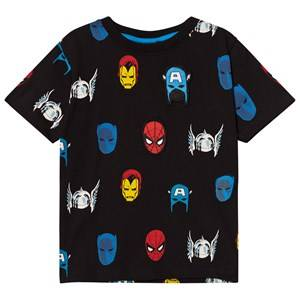 Fabric Flavours Boys Tops Black Black Marvel Heroes Repeat Print Tee