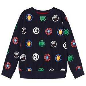 Fabric Flavours Boys Jumpers and knitwear Navy Navy Avengers Multi Logo Repeat Sweatshirt