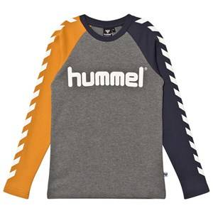hummelkids Boys Tops Grey Lukas Long Sleeve Tee Inca Gold