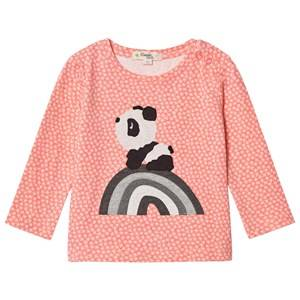 The Bonnie Mob Girls Tops Pink Rainbow Panda Applique Tee Hash Tag Sorbet