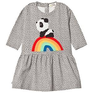 The Bonnie Mob Girls Dresses Grey Rainbow Panda Applique Dress Hash Tag Grey