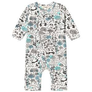 The Bonnie Mob Boys All in ones Blue Panda Print Kimono One-Piece Blue