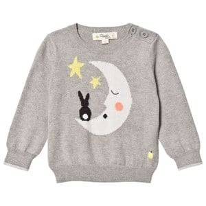 The Bonnie Mob Unisex Jumpers and knitwear Grey Moon And Bunny Intarsia Sweater Greys