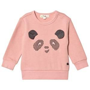 The Bonnie Mob Girls Jumpers and knitwear Pink Cross Stitch Panda Sweatshirt Powder