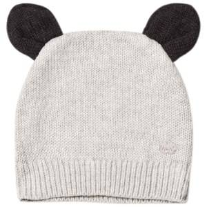 The Bonnie Mob Unisex Headwear Grey Knitted Hat with Ears Light Grey