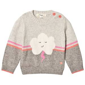 The Bonnie Mob Girls Jumpers and knitwear Pink Flash Cloud Intarsia Sweater Pink/Grey