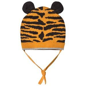 The Bonnie Mob Unisex Headwear Orange Tiger Stripe Knitted Hat with Ears Honey