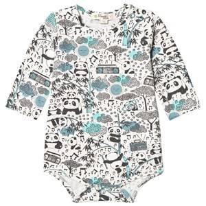 The Bonnie Mob Boys All in ones Blue Panda Print Baby Body Blue