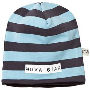 Nova Star Unisex Headwear Blue Beanie Fleece Lined Striped Blue