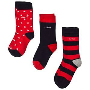 Gant Boys Underwear Red 3 Pack of Red Stripe, Star and Solid Socks